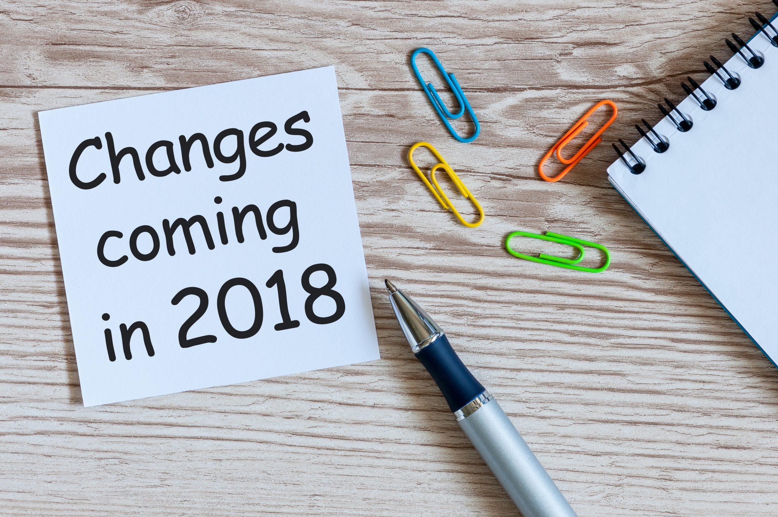 Changes in legislation for 2018