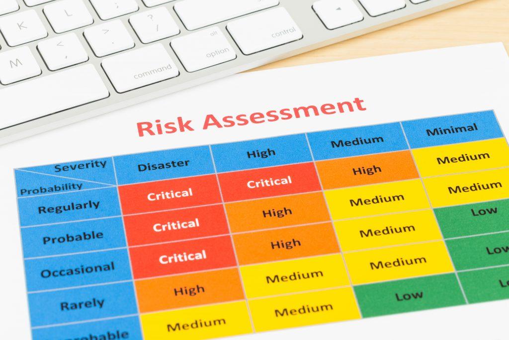 A risk assessment form on a desk