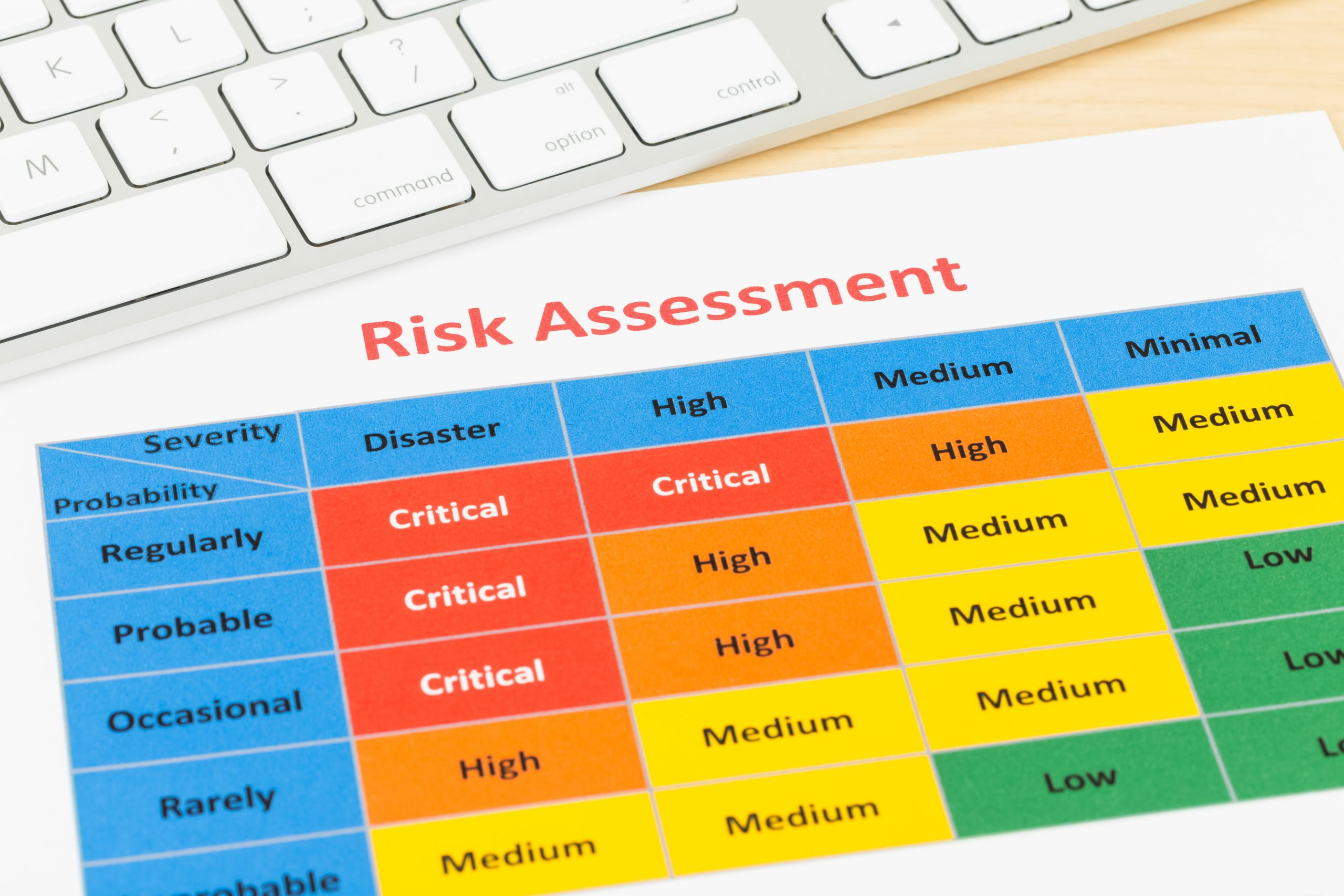 A risk assessment form on a desk