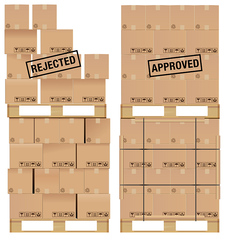 Cardboard boxes set on a wooden pallet, with examples of poor stacking and a good stack of boxes.